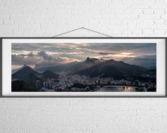 Fine Art Photography Print - Panorama, Landscape, Travel - Sunset Light over Rio De Janeiro, Brazil