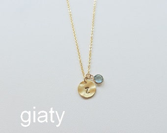 Personalized Necklace, Birthstone Necklace, Initial Necklace, Dainty Necklace, Letter Necklace, Gold Initial Necklace,Personalized Jewelry