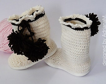 Crochet boots pattern - crochet boots with pom-poms, instant download,toddler crochet boots pattern, kids crochet boots pattern