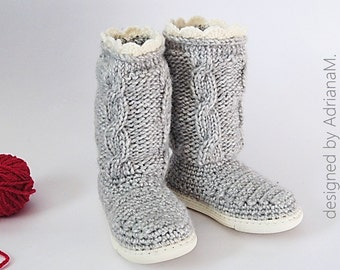 Crochet &knit pattern-outdoor boots with knitted cables for kids,all kids sizes,toddler,girl,boy,rubber soles,street footwear,rustic look