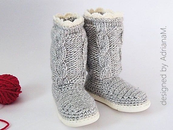 Crochet boots pattern boots for kids with knitted cables