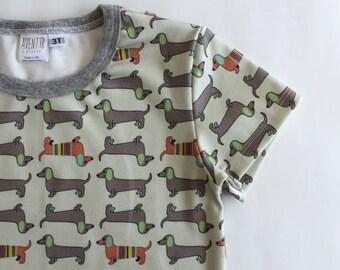 Dachshund Baby T-shirt- ORGANIC Wiener dog clothes. Sausage dog tee. Organic girls shirt. Boys dog clothes. Baby/ toddler shirt weiner dog.
