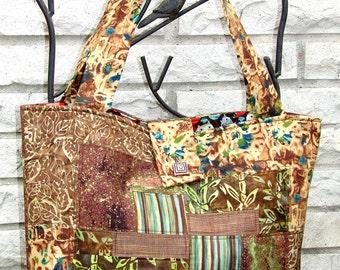 Split-Patch Batik Tote Bag - Greens & Browns