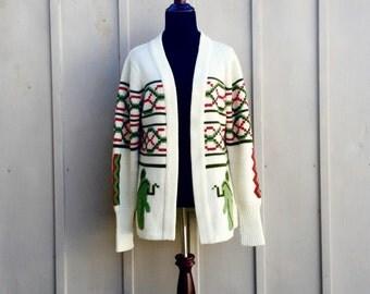 Bohemian Cardigan, Boho Sweater, Tribal Sweater, Elephant Sweater, Hippie Sweater, 70s Cardigan, Wrap Cardigan, Cosby Sweater, Ethnic Jumper