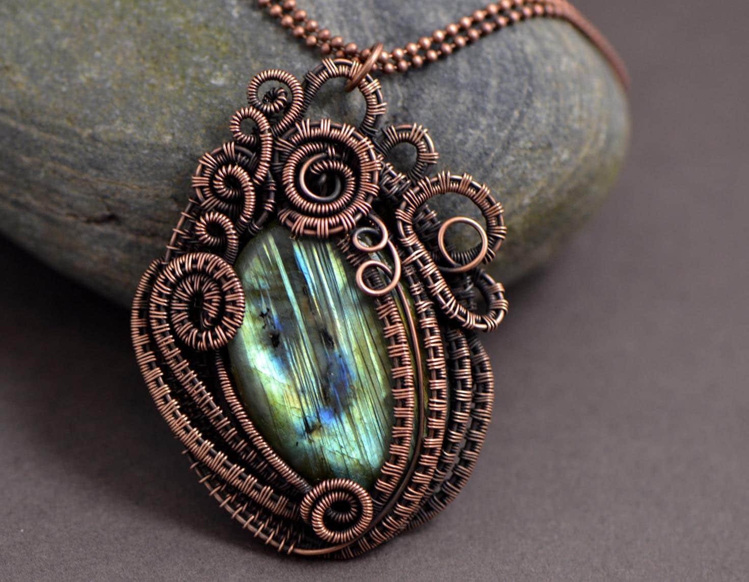 wire wrapped labradorite pendant wire weave copper wire