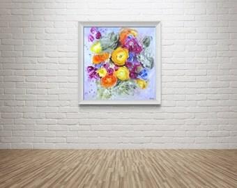 "Fine Art Print Flower Painting // ""Vibrancy"""