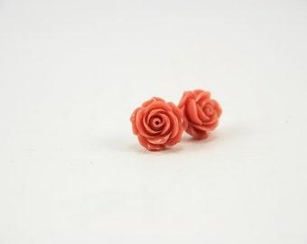 Bridesmaids Gift Set - Dusty Pink Rose Stud Earrings, Flower Cabochon, Romantic Jewelry, Bridal, Wedding