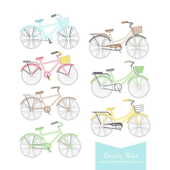 Lovely Bike Digital Clipart. Bike Graphics for Wedding Invites, Photography, DIY | Commercial License Available