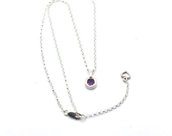 Perfectly Centered,Necklace,Amethyst,Sterling Silver,Heart,Charm,Pendant,Extender,Dainty,Feminine,Gift for Her,Gift Idea,Bezel Set,Love