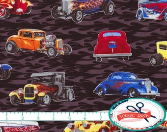 HOT RODS Fabric by the Yard, Fat Quarter Antique CAR Fabric Boy fabric Apparel Fabric Quilting Fabric 100% Cotton Fabric Yardage t3-38