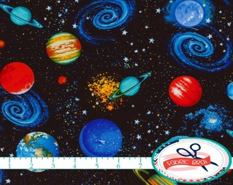 Planets fabric etsy for Solar system fabric panel