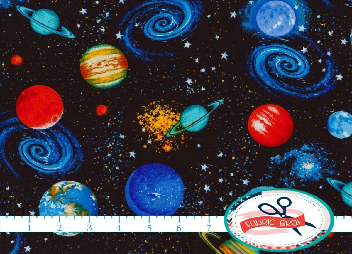 Planets stars fabric by the yard fat quarter universe fabric for Outer space fabric by the yard