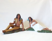 Native American Indian Brave with His Sexy Maiden, Two Piece Statue Set, Hand Painted Ceramic