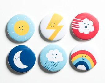 Weather moods fridge magnets; gift packaged set of six different weather magnets. Stocking filler, party bag filler.