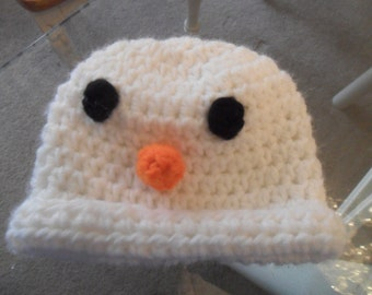 Handmade Crochet Snowman Newborn Baby Hat - White Black Orange