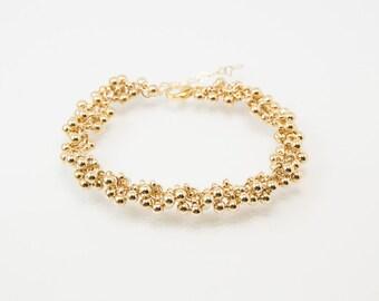 Beaded bracelet, chunky bracelet, cute bracelet, friendship bracelet, gold beaded bracelet, gold bracelet, cute bracelet, bridesmaid gift