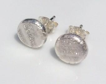 Silver post earrings, silver stud earrings, tiny post earrings, modern post earrings, organic earrings, small earrings, pave earring