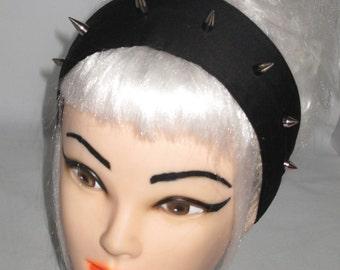 Headband Black With Metal Spikes Head scarf Wrap Tie Studded