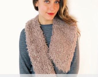 PATTERN for Faux Shearling Fake Fur Asymmetric Collar Scarf // Soho Collar PATTERN
