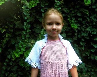 White knitted Shrug for girl. White Bolero.