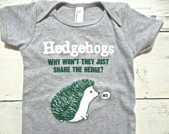 Cute hedgehog one piece. Funny baby bodysuit. American made. Hand drawn.