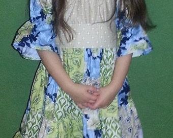 Noel Patchwork Peasant Dress
