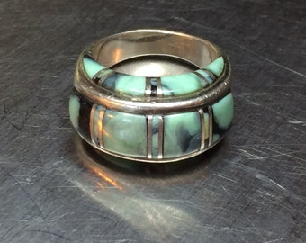 Magnificent Victor Coochwytewa Sterling Silver Channel Inlay Turquoise Ring