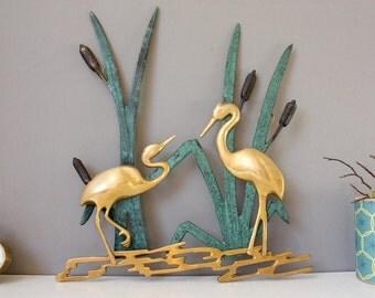 vintage Wandbild, Bild Reiher Schilf, Flamingos, Fischreiher, Tiere, Kraniche Metall, Wanddeko Mid Century 50er 60er Geschenk Sie Ihn