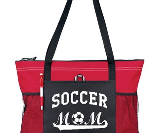 "Large 20"" SOCCER MOM Sports Bag with soft Microfiber or Glitter design"