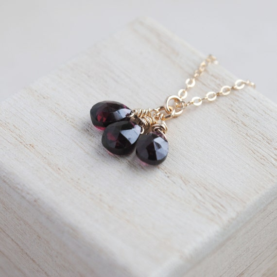 Tiny Garnet Necklace - Garnet Trio Necklace - Gold Garnet Necklace - January Birthstone