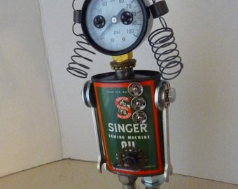 Curly Top Sue V Quiltmaker Found Object Robot Assemblage Sculpture