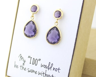 Amethyst Purple / Gold Two Piece Teardrop Post Earrings - Purple and Gold Earrings - Purple Stud Earrings - Gold Bridesmaid Earrings - EB3