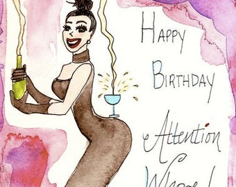 SALE! Funny Birthday Card, Rude Card, Kim Kardashian Card