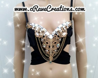 Black and Gold and Glam Design Custom Bra Costume Lingerie Rave Bra