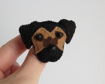 Blue and Tan Border Terrier hand sewn brooch pin