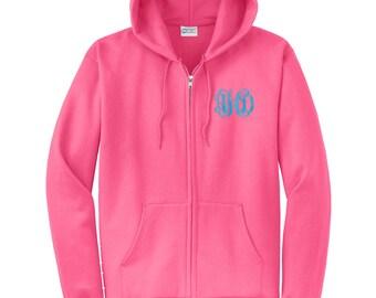 Monogram Full Zip Hooded Sweatshirt