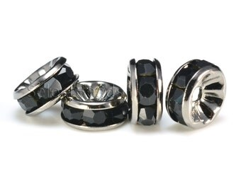 black rhinestone bead, black crystal bead, dark grey plated metal bead, 4-12mm rondelle bead, copper spacer, craft supplies -- 100pcs