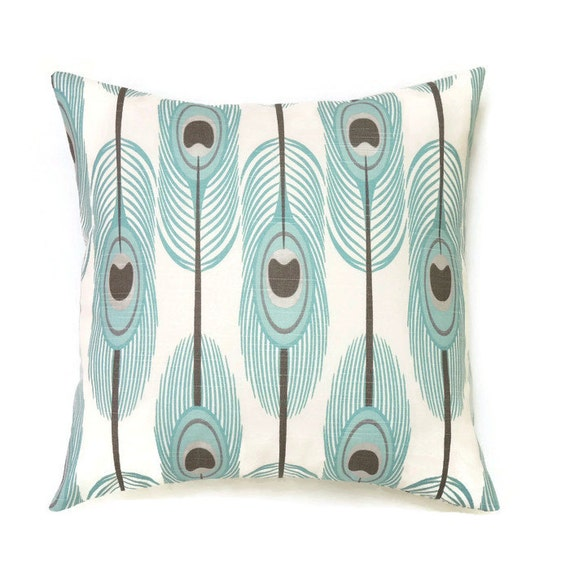 Decorative Pillows Feather : Blue Feather Pillow 16x16 Pillow Cover Decorative Pillows