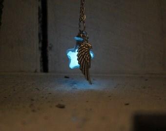 Wing Charm Aqua Blue Glow Star Glass Necklace (Medium)