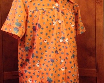 Fun Polyester Button Up Orange Flower Smock Shirt