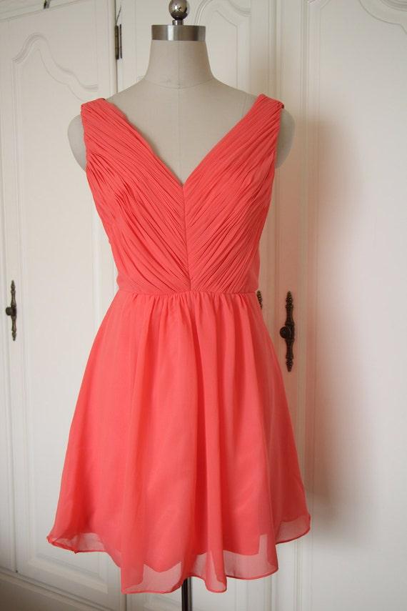 Items similar to Short Coral Chiffon Bridesmaid Dress Knee ...