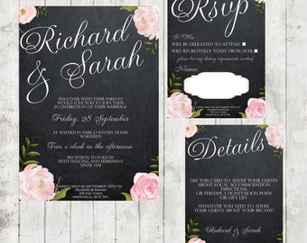 Printable wedding suite, digital wedding suite, chalkboard wedding invitation, roses wedding invitation, printable wedding invitation, 7x5