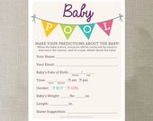 Instant Download - Baby Pool - Baby Shower Game - Baby Pool Game - Office Shower Game - print at home - Twin Baby Shower Game