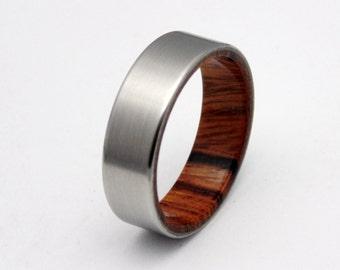 Titanium ring,  Sonora Desert wood ring,  Mens titanium wedding band