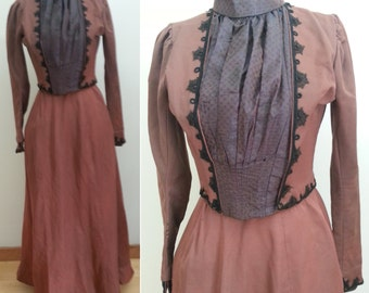 1880s / 1890s Bustle Gown - Bodice & Skirt