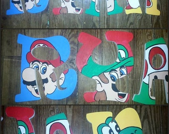 Hand Painted Super Mario Bros Inspired Wooden Letters, Custom Wood Letters, Custom Name Letters, Painted Wood Letters, Painted Letters