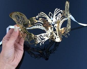 Masquerade Mask, Luxurious Cat Mask, Cat Woman Mask, Mardi Gras Mask, Mask, Gold Masquerade Mask, Masquerade Ball Mask, Mask w Rhinestones