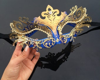 New Masquerade Mask, Royal Blue/Gold Venetian Masquerade Mask, Gold Masquerade Mask, Mardi Gras Masquerade Mask