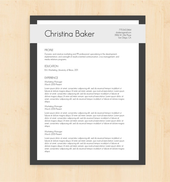 Resume Template Cover Letter Template The Sara By Phdpress: Resume Template / CV Template The Christina Baker By PhDPress
