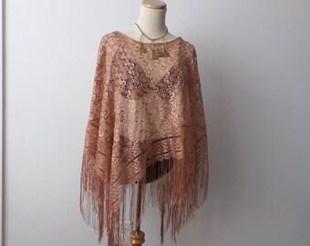 Vintage Woven Shawl Pancho Free Shipping